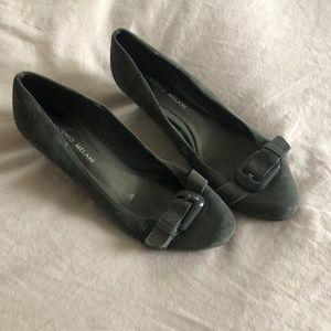 Antonio Melani Gray Suede Kitten Heel Wedges